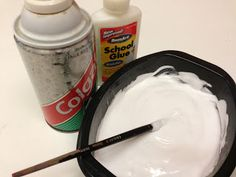 "Mix equal amounts of shaving cream and white glue together to create white, puffy, ""snow"" paint."