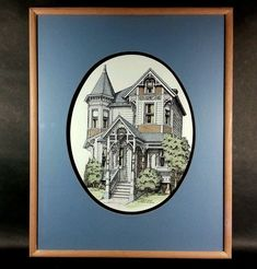 """Excellent and original water colored lithograph. Signed in pencil. Debbie Patrick 2/6/1988.<br/><br/>Limited Numbered Hand Colored Framed Victorian House Signed by Debbie Patrick - (Outer Dimensions: 16"""" x 20""""). 