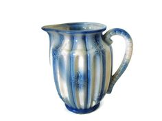 Vintage ceramic pitcher cottage chic blue & by SelectiveSalvage