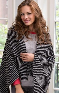 Oversized Shawl made of mitered squares in two colors - designed by Julie Hines -  free Knitting Pattern