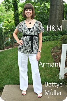 Client Meeting working mom outfit: Black-and-white H top, white Armani pants. #workmoms http://www.closet-coach.com/2012/07/25/client-meeting-working-mom-outfit-black-and-white-and-linen-all-over/