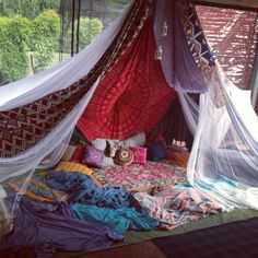 Bohemian tent I would love this in a corner in my own back Yard lit by lights