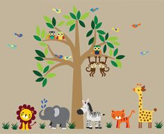 Tree WALL DECAL Jungle Wall Decal  C101 by WallArtPlanet on Etsy, $175.00