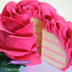 This stunning pink rose cake is the perfect Valentine's meal for one Fondant Frosting Recipe, Frosting Recipes, Cake Recipes, Dessert Recipes, Cake Decorating Tips, Cookie Decorating, Gorgeous Cakes, Amazing Cakes, Food Cakes
