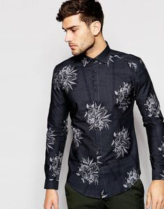 d27fc4c37a Reiss Shirt with All Over Floral Print In Skinny Fit