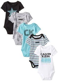 Calvin Klein Baby-Boys Newborn 5 Pack Bodysuits Aqua Black Grey Group, Multi, 0-3 Months