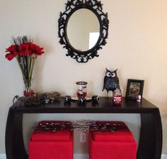 Red and black decorations. Love my living room!