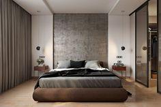 Современный интерьер спальни с гардеробной в Екатеринбурге.
