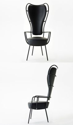 Lapo Ciatti Pelle&Ossa Chair Meterials: Metal,Leather, Sponge Pieces: 9 Location: indoor & outdoor Function: Sit & Decorate User: Everyone Black Furniture, Furniture Decor, Modern Furniture, Furniture Design, Cheap Chairs, Mid Century Furniture, Leather Sofa, Decor Interior Design, Chair Design
