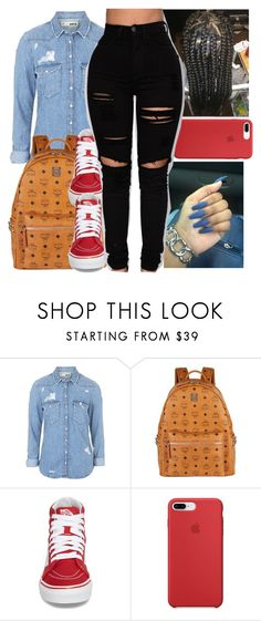 """Untitled #41"" by aaliyah-marie1 ❤ liked on Polyvore featuring Topshop, MCM and Vans"