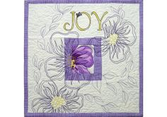 Joy Mini Quilt  Inspirational Word  Fiber Art