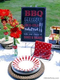 BBQ Cookout Summer Party Ideas - Delicious recipes, food, drinks, DIY easy table decor ideas  and general summer grilling fun!