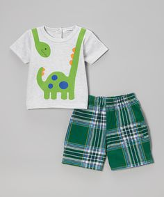 Love this Rumble Tumble Gray Dino Tee & Green Plaid Shorts - Infant & Toddler by Rumble Tumble on #zulily! #zulilyfinds