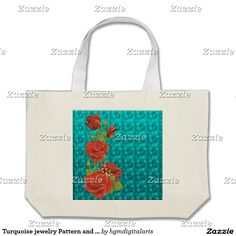 Turquoise jewelry Pattern and Roses Tote Bag