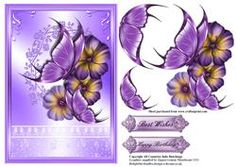 Butterfly's And Flowers On Lilac Card Front