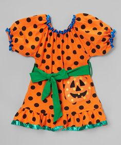 This Orange & Black Trick or Treat Dress - Infant, Toddler & Girls is perfect! #zulilyfinds