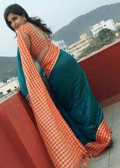 Checks can look good! Beautiful Girl Indian, Beautiful Saree, Beautiful Indian Actress, Beautiful Women, Saree Backless, Saree Dress, Saree Blouse, Dress Skirt, Indian Girls Images