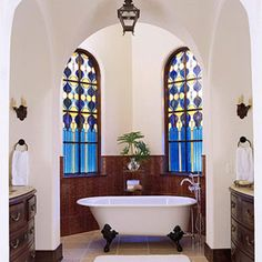 Ooooh, what could be better than a bubble bath in a claw-footed tub in an alcove with stained-glass windows! Leaded Glass Windows, Window Design, Better Homes And Gardens, Fashion Room, Amazing Bathrooms, House Colors, My Dream Home, Custom Homes, Home Furnishings