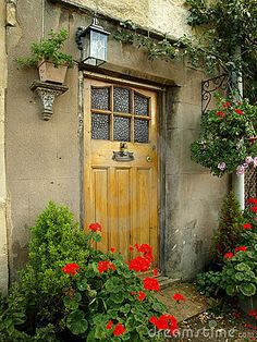 FRONT DOOR OF AN OLD COTTAGE