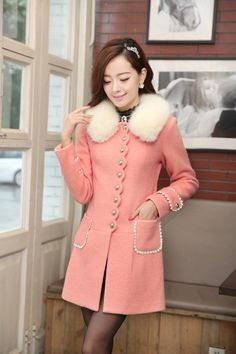 Perplexing, Cashmere Coat, wool coat,  winter coat, fur coat, Embroidered Pockets, White Fur Collar, Fur Collar, YRB fashion, 0354, Winter c...