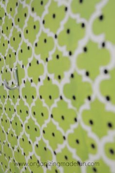 CUTE pegboard organization possible backsplash in rv- could hand shelves and get other stuff off the counter- love stencil pattern