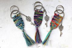 Items similar to Chakra Yoga Keychain With Tassel, Woven Macrame Karma Keychain, Gift for Yoga Friend, Braided Unique Hippie Tribal Boho Keychain on Etsy Handmade Signs, Handmade Items, Small Gifts, Unique Gifts, Diy Gifts, Friendship Bracelet Patterns, Friendship Keychains, Diy Keychain, Etsy Christmas