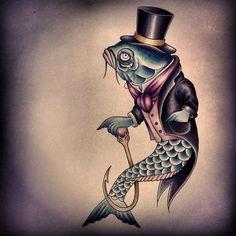 By anem #tattoodesign #oldschooltattoo  #ink #fishtattoo