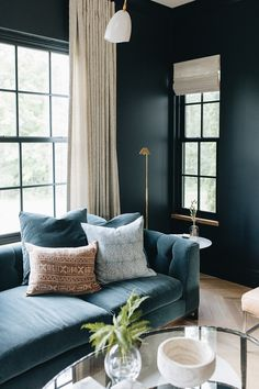 Home Interior Design .Home Interior Design Living Room Sofa, Apartment Living, Living Room Decor, Living Spaces, Blue Velvet Sofa Living Room, Dark Walls Living Room, Office Interior Design, Home Interior, Best Office