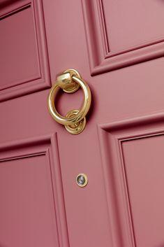 Victorian London door with brass door furniture and spy hole. Traditional Front Doors, Entry Doors, Entrance, Model House Plan, Anthropologie Home, Painted Front Doors, Front Door Colors, House Doors, Door Furniture