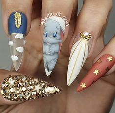 """your success is our reward"" – Ugly Duckling Nails Inc. Beautiful hand painted Dumbo nails by Ugly Duckling Art Educator 😍 Ugly Duckling Nails is dedicated to keeping love, support, and positivity flowing in our industry ❤️ Disney Acrylic Nails, Summer Acrylic Nails, Best Acrylic Nails, Disney Nails Art, Pastel Nails, Nails Inc, Swag Nails, My Nails, Grunge Nails"