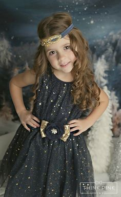 "JOIN OUR FB PAGE FOR WEEKLY GIVEAWAYS, COUPONS AND SPECIAL OFFERS! http://www.facebook.com/ThinkPinkBow Star gazing just got a whole lot easier when your little princess wears our ""Midnight Sky"" Star Dress in Navy Blue. This dress is stunning with its gathered elastic waist that"