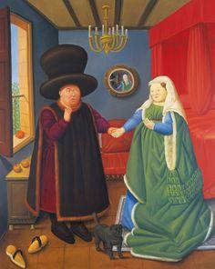 Fernando Botero, Les époux Arnolfini (d'après Van Eyck), 1978, Huile sur toile.
