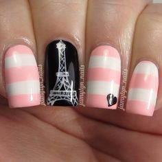 Pastel Pink and White Stripe Paris Inspired Nails With Eiffel Tower