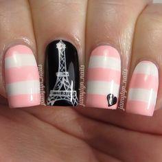 Paris, love, stripes. #nail #nails #nailart