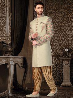 Cream Silk Embroidered Indo Western Sherwani