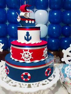 Whats: (11)942701229  (11)996762432  pedaco-de-encanto.minestore.com.br Nautical Birthday Cakes, Nautical Cake, Baby Birthday Cakes, Baby Shower Cakes, Baby Shower Themes, Baby Boy Shower, Sailor Cake, Bolo Fack, Sailor Baby Showers