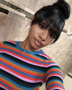 New Hair Trends Bangs Makeup 20 Ideas Black Girls Hairstyles, Bun Hairstyles, Trendy Hairstyles, Hairstyle Ideas, Fringe Hairstyles, Black Power, Curly Hair Styles, Natural Hair Styles, Bombshell Beauty