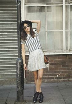 Mina Skater Skirt - Grey Lace and striped shirt http://www.amazon.com/The-Reverse-Commute-ebook/dp/B009V544VQ/ref=tmm_kin_title_0