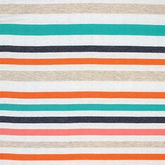"Isabel Stripe Lino Coral Cotton Jersey Blend Knit Fabric - A designer overstock score!  Beautiful colors of teal blue, pink, coral, blue, and oatmeal multi stripe on a a white cotton jersey rayon blend knit.   Fabric is light weight, with a beautiful drape, nice stretch, and smooth soft hand.  Largest stripe measures 1"".  Suitable for many different applications!  ::  $5.70"