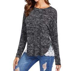 Lace Splice Long Sleeve T-Shirt   #longshirt #lace #outfits #style #fashion #affiliate