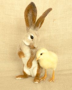 Gretchen the chick and Moseby the Rabbit by The Woolen Wagon on Etsy