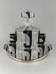 Czech Bohemian Art Deco Glass Liqueur Set by Karl Palda