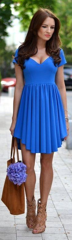 Fairytale Collection Shop Blue Rounded Hem Pleated Skirt Swing Dress by My Silk Fairytale