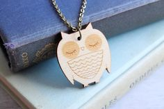 Sleeping Wooden Owl Necklace