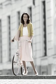Juzo Inspiration AT - panty Bicycle Girl, Trends, Fashion Outfits, Womens Fashion, White Dress, Bicycles, Inspiration, Clothes, Girls