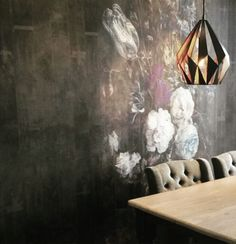 """Lovely project by our dealer and interiordesigner Emma Biemans Interieur. For the finishing touch in this luxury dining room, Emma used the Mural """"Bouquet"""" enlarged with 2 rolls of Extensions. A beautiful wallpaper-artwork with lovely colors, versatile and nice details. This wallpaperdesign is part from the collection 'Dutch Dreams' by La Aurelia."""