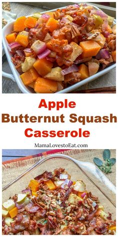 Apple Butternut Squash Casserole with Bacon-Pecan Topping, a paleo side dish, is great for your holidays, Thanksgiving or Christmas, or family dinner. This vegetable recipe comes in at 6 Weight Watchers Freestyle Point Paleo Side Dishes, Vegetable Side Dishes, Side Dishes Easy, Vegetable Recipes, Apple Side Dish Recipes, Main Dishes, Weight Watchers Butternut Squash Recipe, Butternut Squash Casserole, Barbacoa