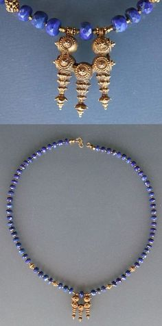by Micheal Beste | Necklace made from facetted Lapis lazuli beads  (Afghanistan) and tiny facetted gold beads. The pendant is an old gold earring ~ a Kanachampa ~ from Orissa, India. Gold Earrings, Beaded Necklace, Beaded Bracelets, Jewelry Making Beads, Jewelry Box, Baby Bling, Ornament Box, Rocks And Gems, Gold Beads