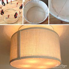 DIY Drum Shade tutorial...amazing idea for transforming a ceiling fan to a cute semi flush light fixture