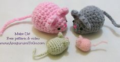 Oh, I'm in love with these mice!     An easy little mouse you can stuff with catnip and gift to your kitty cat! Keep scrolling down th...